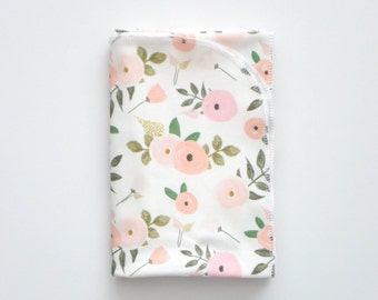 Organic cotton swaddle blanket in Sweet Candy Floral in shades of Pink, Peach and Blush Flowers