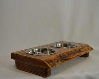 "Dog bowl stand,  ""Pint"" crafted from live edge fir/cedar beautiful wood decor, perfect for any small dog, ""flame burnished"" Mother's Day!!"