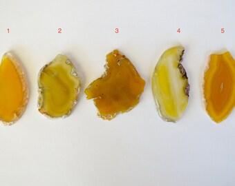 Agate Slice Pendant, Yellow Agate Pendant, Large Agate Slice, Agate Geode Slice Pendant, Stone Pendant GROUP B Druzy Agate Penda