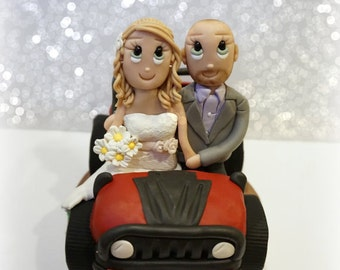 Custom Red and Black Jeep Wedding Cake Topper with Couple