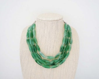 Green Beaded Statement Necklace