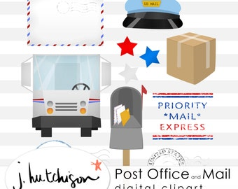 Commercial Use Instant Download  USPS United States Post Office Postage Mail Clipart for digital scrapbooking, DIY, printables