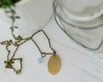 Custom Necklace - Brass with Blue Bead