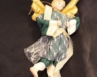 Vintage Fairy Doll Ornament with Porcelain Head, Feet and Hands
