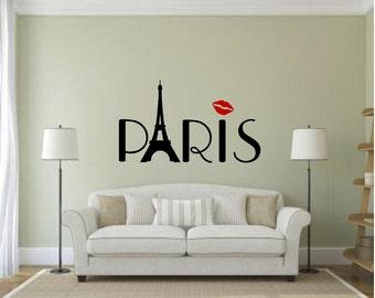 Vinyl Paris Wall Decal, Paris Decal, Paris Decor, Eiffel Tower Wall Decal,