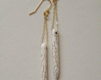 White Howlite Drop Earrings
