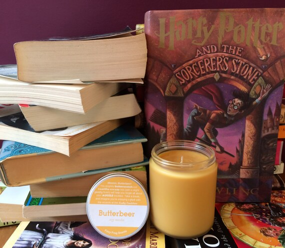 Butterbeer Scented Soy Candle-- 8oz Harry Potter Book Candle