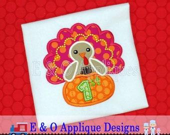1st Thanksgiving Applique Design - Turkey Applique Design - Pumpkin Applique Design - Thanksgiving Embroidery Design - Turkey Embroidery