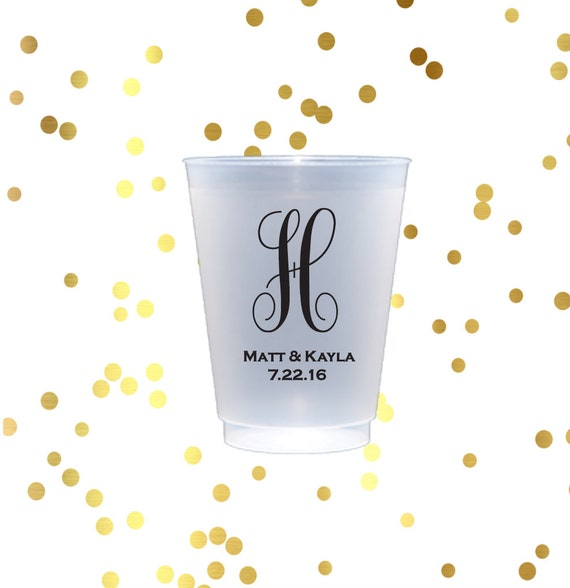 Personalized plastic cup, monogrammed shatterproof cup, wedding cup set, wedding cup favors, reception cups, hostess guft, monogrammed cups