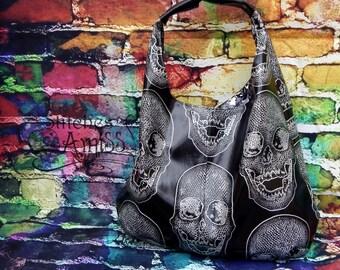 Skull purse, large skull bag, black vinyl skull purse, black silver skull purse MADE TO ORDER