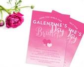 Galentine's Day Invitation, Valentine's Day Invitation, Brunch Invite, Watercolor Heart Invite, Ombre Girls' Day, Girls Night Out