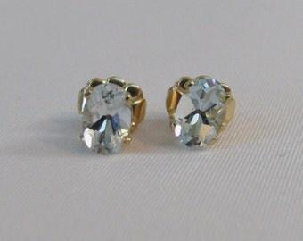 Aquamarine Post Earrings, 14K Gold Filled Earrings, Aquamarine Jewelry,March Birthstone, 6x4mm Aquamarine Stud Earrings, Aquamarine Gemstone