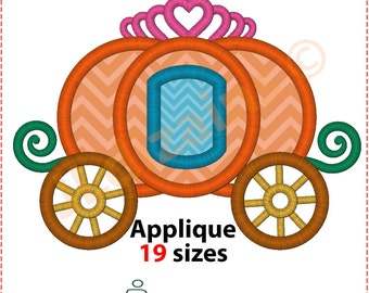 Carriage Applique Design. Carriage embroidery design. Cinderella carriage applique. Princess carriage embroidery. Machine embroidery design