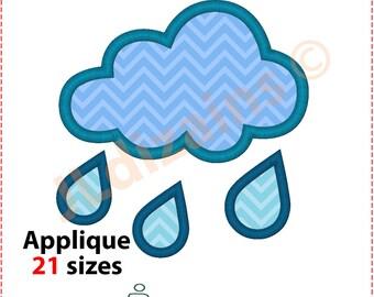 Rainy Applique Design. Raindrop embroidery design. Rainy embroidery design. Cloud applique design. Raindrop Machine embroidery design.