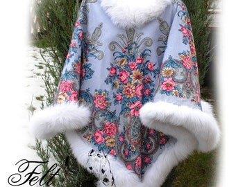 Russian style Women's poncho Pavlovo Posadsky shawl Poncho with fur Poncho from kerchief Cape poncho Warm poncho Pavlovo Posad shawl gift