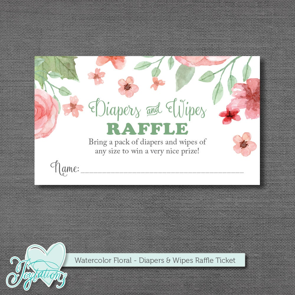 diapers and wipes raffle ticket insert card and sign printable
