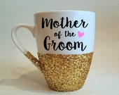 Mother of the Groom with single heart  hand glittered coffee mug in gold glitter - made to order - CHECK PROCESSING TIMES