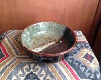 Green/Black/Red Ceramic Bowl