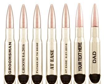 7 Groomsmen Bullet Bottle Openers. Brass 50 Caliber Openers. Free Engraving