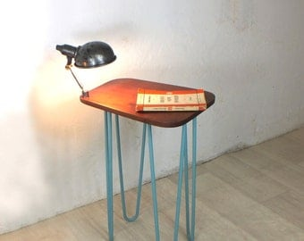 hairpin legs vintage industrial lamp bedside side table mid century retro Danish teak 1950s 1960s
