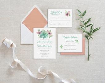 Succulent Wedding Invitation, Printable Wedding Invitation, Floral Wedding Invitation, Whimsical Wedding Invitation, Greenery Wedding Invite