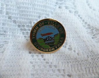 Town of Sturgeon Falls lapel pin, sturgeon Falls pin, city pin