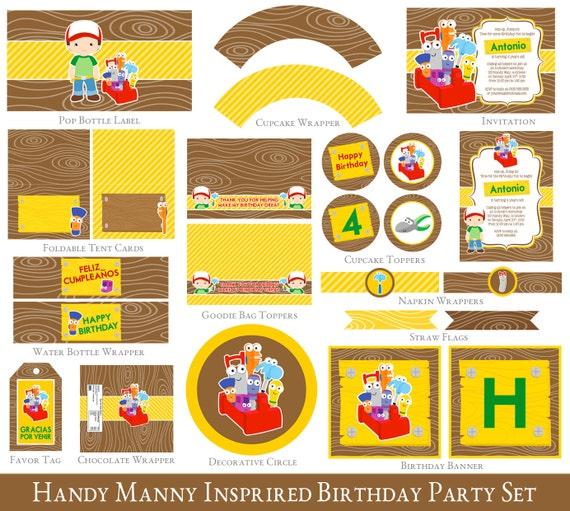 Handy Manny 4th Birthday Printable Set Handy Manny Party – Handy Manny Party Invitations