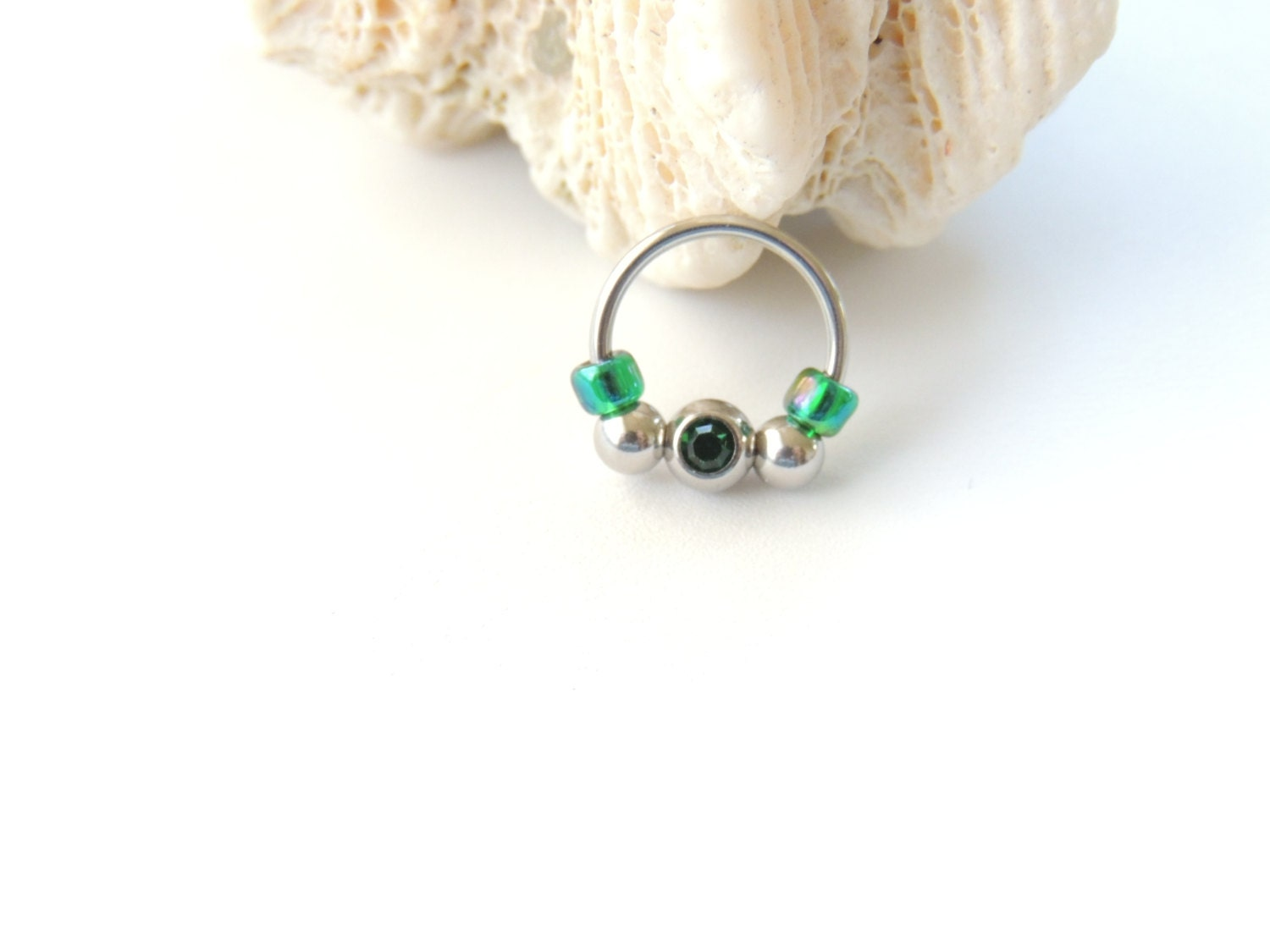 16g captive bead septum nose ring retainer by