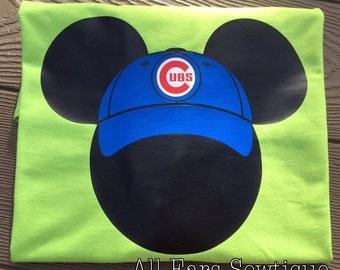 Chicago Cubs Shirt Mickey Mouse Shirt T-Shirt Cubbies Head Shirt Baseball Cap Adult Unisex Men's Women's MLB Red Sox