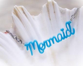 Mermaid Acrylic Necklace. Mermaid Necklace, Mermaid Jewellery, Acrylic Jewelry, Laser Cut Acrylic, Ocean Necklace, Ocean Jewelry
