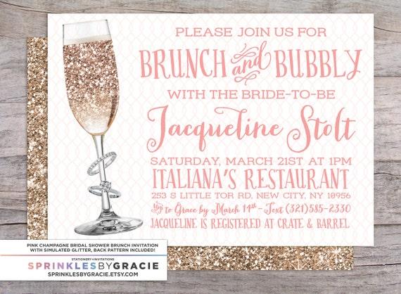 Blush Brunch And Bubbly Pink Amp Gold Bridal Shower Invitation