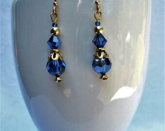 Royal Blue & Gold Earrings