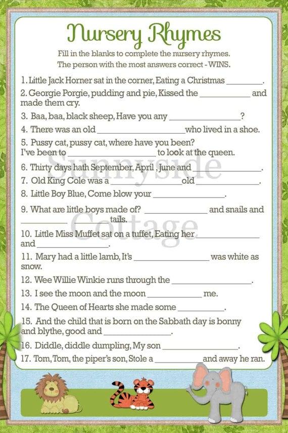 rhymes list nursery rhymes songs lyrics printable baby shower game