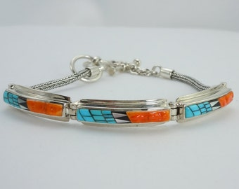 Sterling Silver Link Bracelet With Inlaid Turquoise, Spiny Oyster and Mother of Pearl