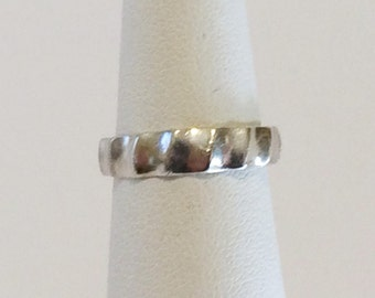 Size 5 Sterling Silver Adjustable Ribbed Toe Ring