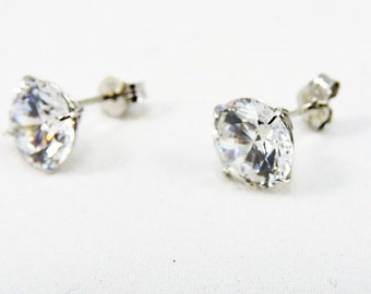 14k White Gold And 2.5ct Each Round Cubic Zirconia Stud Earrings