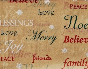 "Blessings, Believe, Peace, Love Christmas Tissue Paper # 885 - 10 large sheets - 20"" x 30"""