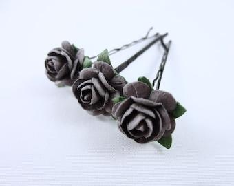 Flower Hair Pins - Rose Hair Pins - Wedding Hair Pins - Bridal Hair Pins - Bridal Party Gift - Grey Hair Pins - Flower Bobby Pins