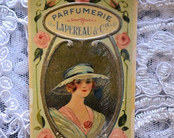 Antique french perfume label,LAPEREAU AND CIE, 1900s