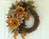 Summer Wreath-Fall Wreath-Sunflower Wreath-Rustic Wreath-Country Wreath-Cottage Chic-Fall Harvest Wreath-Autumn Wreath
