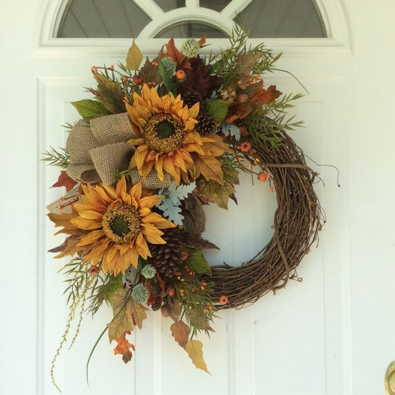 Summer Wreath-Fall Wreath-Sunflower Wreath-Rustic