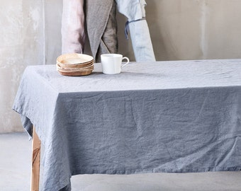 Dark gray/graphite linen tablecloth