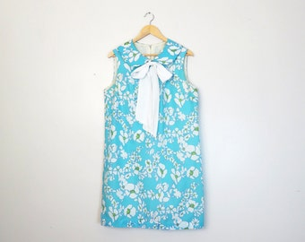 Vintage 1960s Mod Twiggy Floral Peter Pan Collar Shift Dress Size L