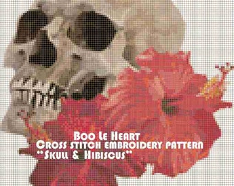Cross Stitch Pattern: Skull and Hibiscus