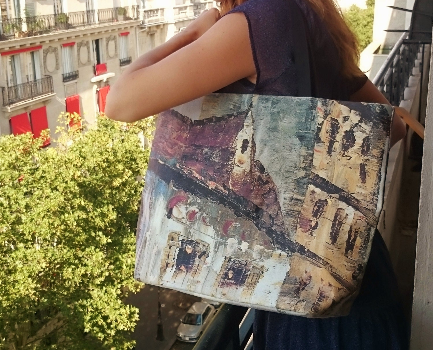 Beach tote printed tote bags painting Montmartre in Paris