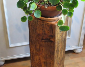 Wooden base, wooden pillar, flower pillar, Dekosäule, solid old wood, rustic