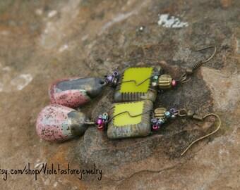 Boho Ceramic earrings, Pink Tear drops. ( 3 inches long )