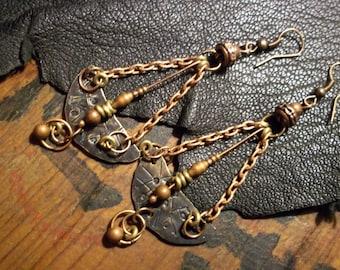 Mixed Metal Earrings-Earthy Copper Earrings-Rustic Bohemian Earrings-Artisan Earrings-Boho Jewelry