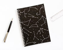 Constellation Notebook. Black and White A5 Spiral Bound Journal with Zodiac Constellation Star Signs. Made in UK