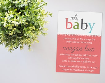 Oh,Baby Baby Shower Invitation, Lace Baby Shower Invite, Blue Boy Baby Shower, Baby Shower Invitation, Printable Invitation